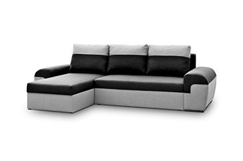 Avanti trendstore - marebbe - divano ad angolo in microfibra grigio/antracite, con funzione letto e cassettone integrato, dimensioni lap 264x87x147 cm