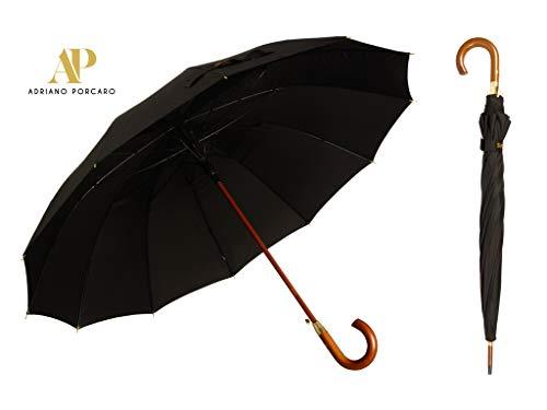 AP - Automatik Regenschirm windfest für Damen und Herren - eleganter Stock-Schirm aus Holz - 12 fache Verstrebung Carbon Fiber - groß stabil & windresistent sturmfest - 115cm Ø (Schwarz)