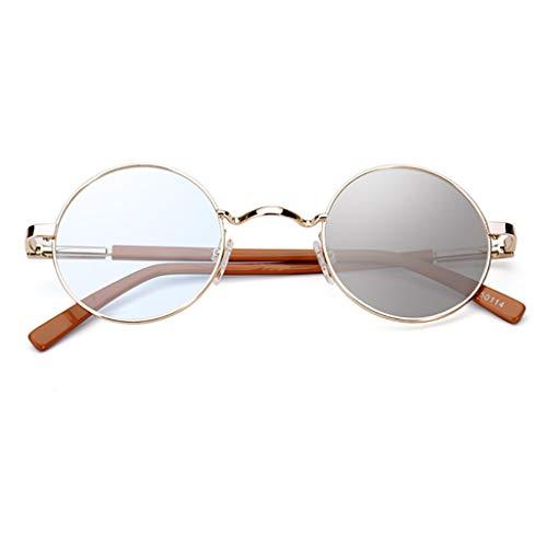 Lesebrille Unsichtbare doppeltem Licht, schnelle Verfärbung/Anti-Blaulicht, runde Sonnenbrille mit Retro-Fassung (+1,5 bis +3,0)