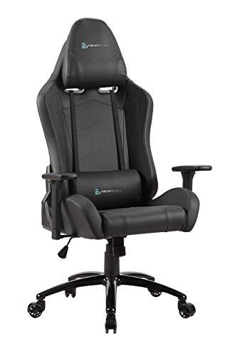Newskill Takamikura - Silla gaming profesional (inclinación y altura regulable, reposabrazos ajustables, reclinable 180º), Color Negra