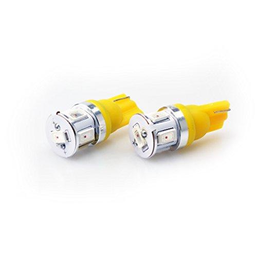 Lumiplux T10 W5W 168 194 12V 24V Jaune LED Ampoule de Voiture 6X1W 5630SMD (Pack de 2)