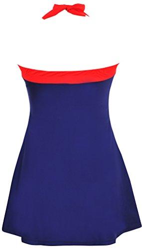 Bettydom Damen Neckholder Push Up Badekleid Einteiler mit Röckchen Effekt Schwimmanzug Figurformender Badeanzug mit Hotpants Frauen Bademode 3 Blau&Weiss