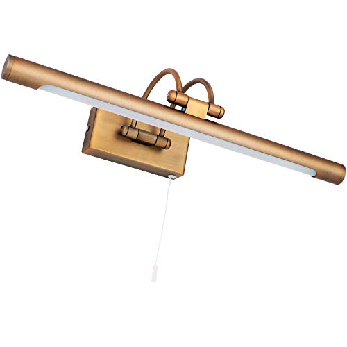 MantoLite Wandleuchte 8W,Metall Badezimmer Spiegel-Leuchte,LED-Bilderleuchte mit schwenkbarem Lampenkopf und Zugschalter,Arc Arm 640LM 40CM Warmweiß Lampe Nachttisch Leseleuchte