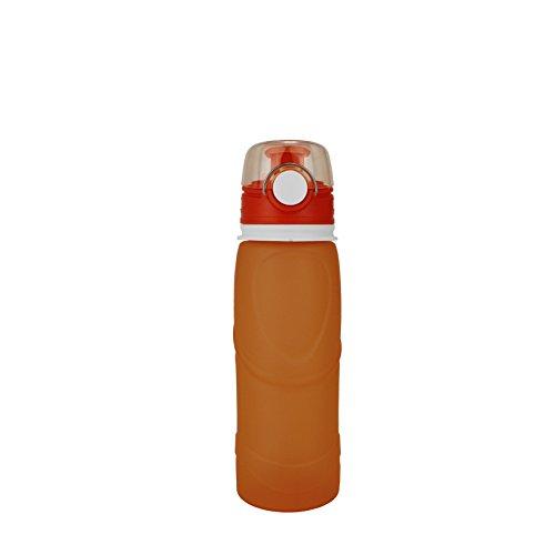 KEAN usforest Wasser Flaschen Faltbar mit auslaufsicherer Faltbar BPA Frei Wasser Flaschen, Orange -