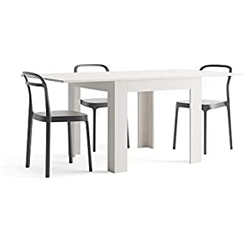04221b6d6209 Mobili Fiver Eldorado Dining Table, Panelling, Book Opening, Ash White,  Extendable up to 180 cm, Closed 90 x 90 x 77 cm