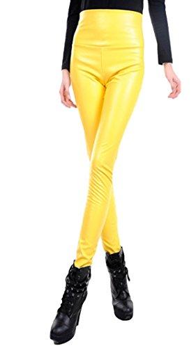 PDFGO Primavera E Autunno Elastico Vita Alta Leggings Colorati Pantaloni Di Pelle Di Sesso Femminile Esteso Slim Pantaloni Piedi Pantaloni Di Marea Yellow