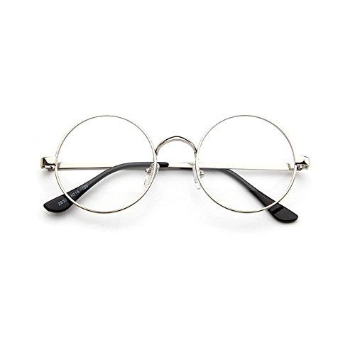 Forepin Retro Rund Nerdbrille reg; Klar Linse Metall Brillenfassung Brille Herren Dame Ohne Stärke Gläser, Silber