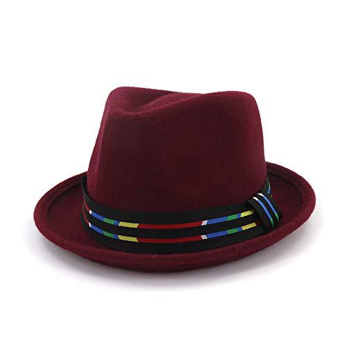 Wilde Farbe Streifen Crimping Hut Wollfilz Jazz Hut Woolen Western Cowboy Hut Paar Floppy Hat für Männer Frauen Hut (Farbe : Weinrot) Justin Womens Hut