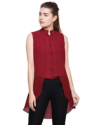 POISON IVY Women's Casual-elegant chiffon layered Sleeveless blouse,Elegant retro High-Low Wine Top...