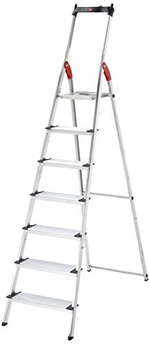 Hailo XXL - Escalera doméstica de aluminio, peldaños extra anchos, bandeja multifuncional, gancho...