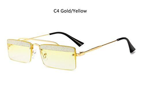 MINGMOU Schwarze Glitzer Rechteck Sonnenbrille Vintage Retro Schmale Brille Niedlich Sexy Stil Designer Sonnenbrille Quadrat Herren Sonnenbrille, 4