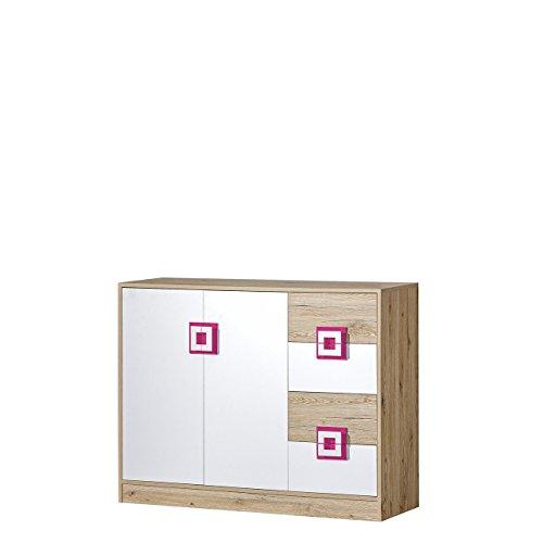 Mirjan24  Kommode Nicola NA08, Griffe Farbauswahl, 4 Schubladen, 2 Türen, Highboard, Sideboard, Mehrzweckschrank für Jugendzimmer (Eiche Hell/Weiß + Rosa) (Kommode 4 Griffe)