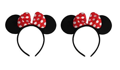 Disney 22 Kostüm Größe - Sonnenscheinschuhe® Doppelpack: 2 x Haarreif Maus Ohren mit Schleife Fastnacht Fasching Karneval Kostüm Maus