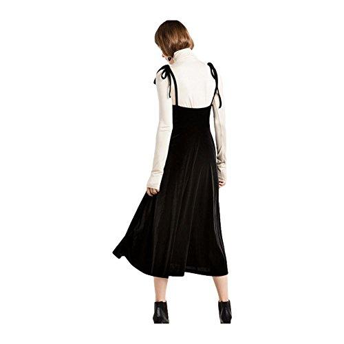 V-cou à la mode robe robe de dentelle robe de harnais - noir Black