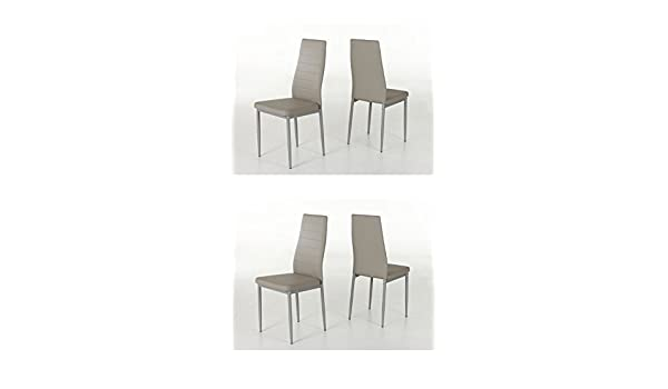 ca30a400020 Hela Simone Cappuccino Dining Chair  Set of 4 Dining Chair Faux Leather   Amazon.co.uk  Kitchen   Home