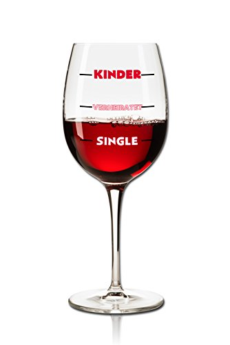 Weinglas 350ml - Dekor: Kinder - Verheiratet - Single als Füllstandsanzeige