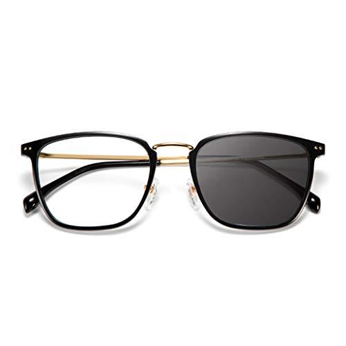 Axclg Reading glasses MäNner Und Frauen Mit Doppeltem Verwendungszweck, Intelligenter Zoom, Lesebrille Mit Automatischem Farbwechsel, Schwarze Sonnenbrille