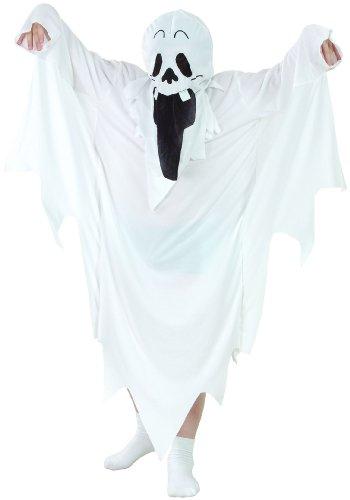 Gespenster-Kostüm für Kinder schwarz-Weiss 122/134 (7-9 - Gespenst Kinder Kostüm