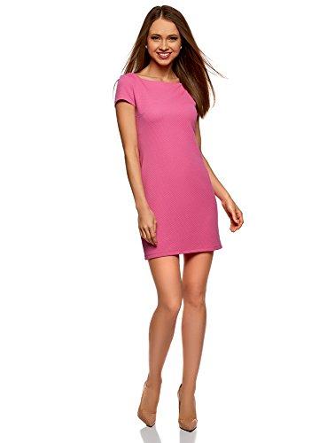 4700n Farbe (oodji Ultra Damen Kleid aus Strukturiertem Stoff mit U-Boot-Ausschnitt, Rosa, DE 40 / EU 42 / L)