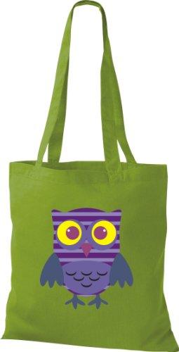 Stoffbeutel Bunte Eule niedliche Tragetasche mit Punkte Karos streifen Owl Retro diverse Farbe lime