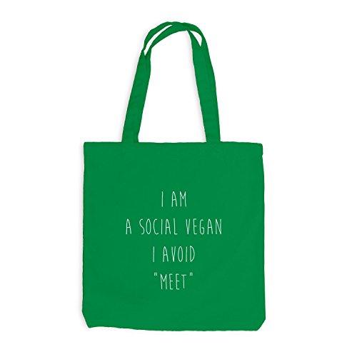 Jutebeutel - I Am Social Vegan, Avoid Meet - Fun Kellygrün