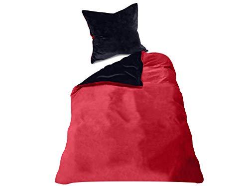 Wendebettwäscheset - Cashmere Touch - 100% Mikrofaser - inklusive Kissenbezug & Bettbezug in 6 Farbkombinationen, ca. 135 x 200 cm + 80 x 80 cm, schwarz/rot