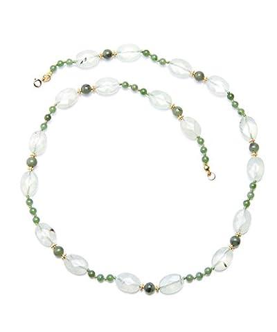 Hi-Perle - Collier long en pierre naturelle : quartz rutile vert facetté et jade néphrite