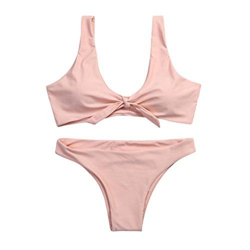 OVERDOSE Frauen verknotet Padded Thong Bikini Mitte Taille Scoop Damen Badeanzug Bademode Strand Kleidung(A-Pink,M) -