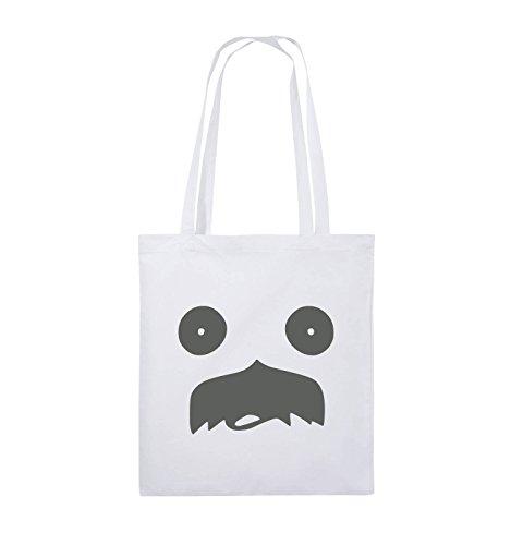 Comedy Bags - GESICHT SCHNURRBART - COMIC - Jutebeutel - lange Henkel - 38x42cm - Farbe: Schwarz / Silber Weiss / Grau