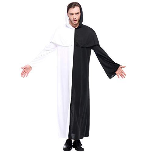 NiQiShangMao Purim Karneval Halloween-Kostüme für Paare Männer Frauen Scary Schwarz-Weiß-Zauberer Zauberin Ghost Kostüm Cosplay (Männer Böse Zauberer Kostüm)
