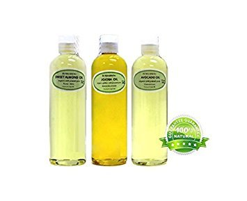 LOT 12 Oz Jojoba Oil 12 Oz Sweet Almond Oil 12 Oz Avocado Oil Pure Cold Pressed 100% Pure
