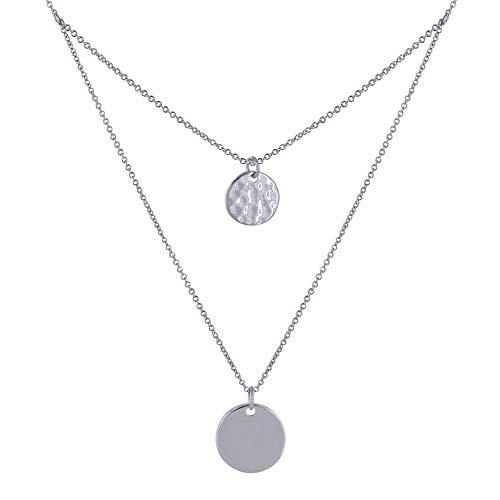 Schmuck Les Poulettes - Silber Rhodium Halskette Doppelkette Glatte und Gehämmerte Runde Medaille