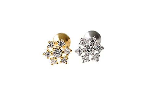 CZ Fahsion Körperschmuck Edelstahl 16g 16Gauge Cartilage Daith Tragus Helix Indutrial Barbell Fest Zarte Blumenblumen-Stern-Konstellations-Shaped Snowflake Ohrstecker Piercing Ohrringe-LV