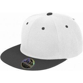 Snapback 2-Tone Design Flat Cap Bill Unisex Hip Hop Kappe Schirmmütze One Size Erwachsenen Mütze Kappe für Herren und Damen Schirmmütze verstellbar - in diversen Farben (Weiß)