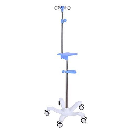 Medizinische Infusionsständer mit 4 Haken - Höhenverstellbarer Infusionsständer Aus Edelstahl mit 5 Rollen für Das Klinikheimkrankenhaus (Color : Stainless Steel Hook)