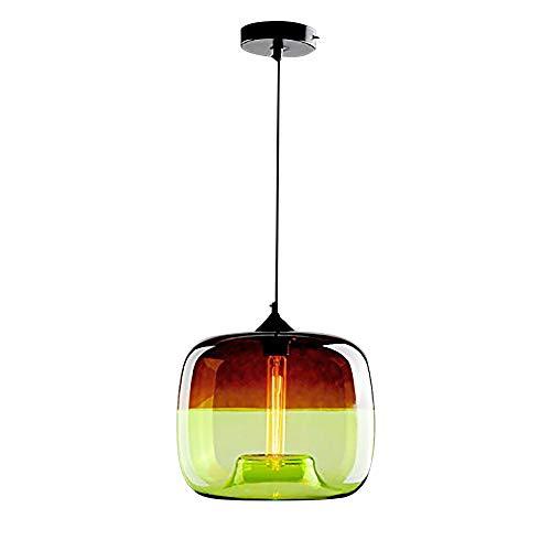 WWWJ Farbe Klarglas Lampenschirm Pendelleuchte, Moderne Einfachheit Dekoration Deckenpendelleuchte Leuchten für Bar-green-D24XH25cm