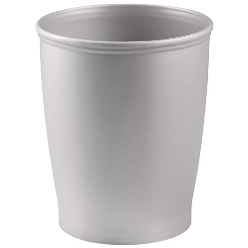 Mdesign contenitori rifiuti in plastica – elegante pattumiera differenziata per bagno, ufficio o cucina – moderno cestino spazzatura di forma tonda adatto per la carta – grigio