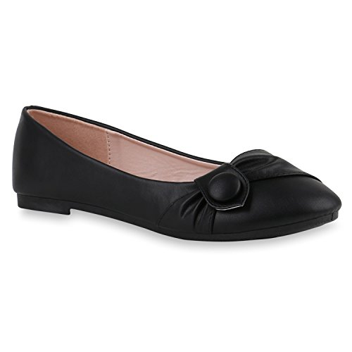 Stiefelparadies Klassische Damen Ballerinas Leder-Optik Flats Übergrößen Flache Slipper Spitze Prints Strass Schuhe 141147 Schwarz Knopf 39 Flandell