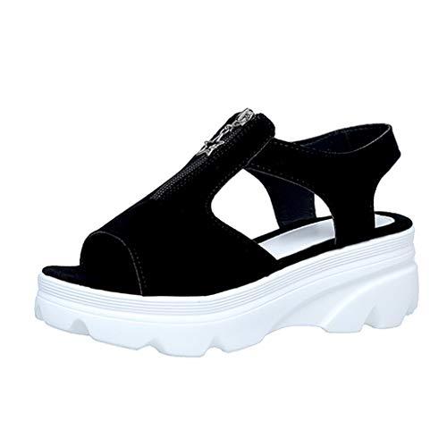 Lady Beach Sommer Casual Sandalen Neue Mode Frauen Sommer Keile Plattform Reißverschluss Peep Toe Schuhe Casual Sandalen -