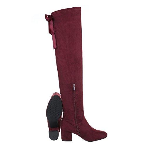 Overknees Scarpe Da Donna Classic Boots Block Heel Block Heel Zipper Ital Design Boots Burgundy