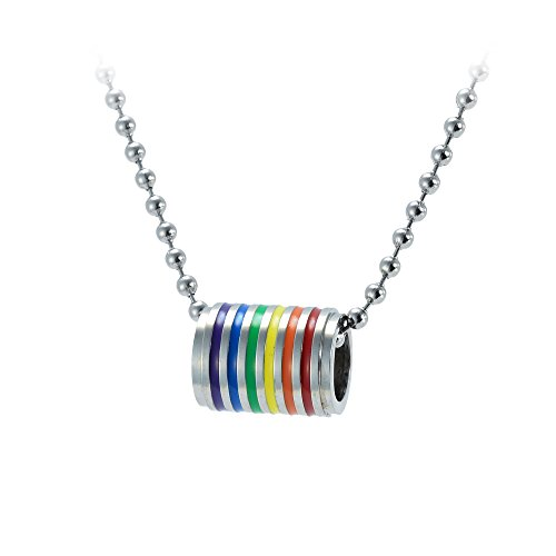 ber Pride Regenbogen gestreift Emaille Classic Barrel–Anhänger LGBT Gay and Lesbian Silber Ball Kette Halskette mit Edelstahl in Geschenkverpackung (Regenbogen-parteien)