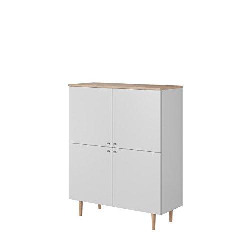 Mirjan24  Kommode Loveli LKD100 im skandinavischen Stil, Sideboard, Anrichte, Mehrzweckschrank, Wohnzimmerschrank, Schrank, Wohnzimmer (Weiß/Weiß + Sandbuche)