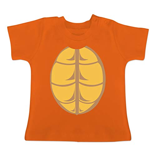 Karneval und Fasching Baby - Kostüm Schildkröte - 1-3 Monate - Orange - BZ02 - Baby T-Shirt Kurzarm