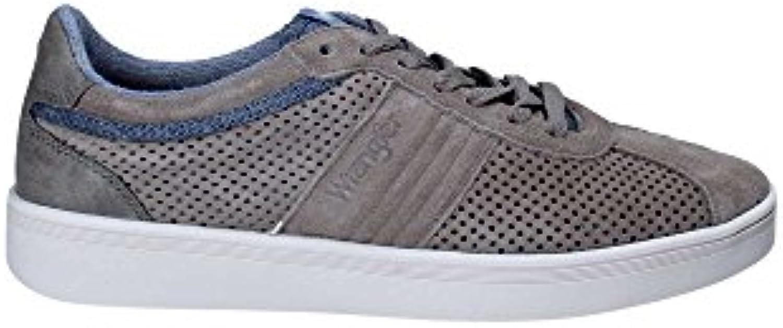 Wrangler Herren Micky City Sneaker Beige Kombiniert mit Blau/Grau Größe 40 Beige (Beige)