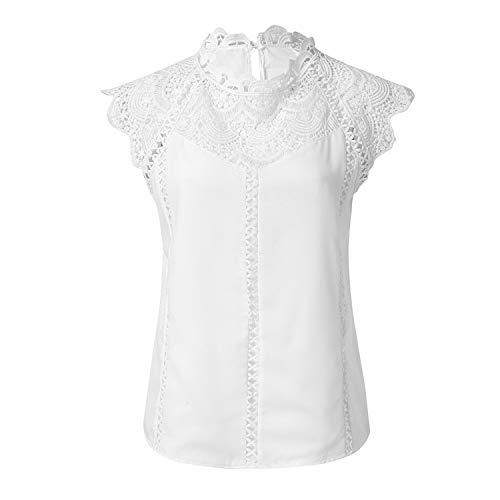 Frauen Tops und Blusen Shirts Feste Spitze Chiffon ärmel Hohle Bluse übersteigt Hemd Frauen Blusen, Weiss, XL