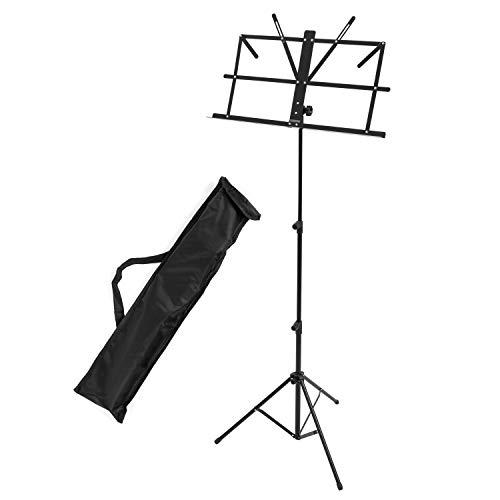 CASCHA Notenständer mit Tragetasche, Notenhalter, zusammenklappbar, höhenverstellbar, schwarz