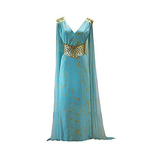Game of Thrones Daenerys Targaryen Cosplay Blau Sexy V-Ausschnitt Kleid Halloween Kostüm Damen Cosplay Party (Blau, (Game Of Thrones Weibliche Kostüm)