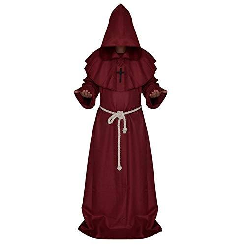 ch Robe Mit Kapuze Kappe Halloween Cosplay Kostüm Mantel für Wizard Zauberer-Größe XL (Dunkelrot) ()
