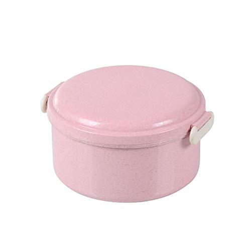 Yarmy Bento Box,Weizen Stroh Lunchbox Kreative Gesundheit Runde Doppelschicht Design Brotdose