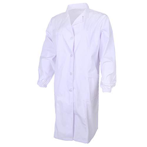 B Baosity Herren Damen Laborkittel Weiß Labor Kittel Mantel Arbeitsmantel Arbeitskittel Labormantel Arbeitskleidung Uniformen - Weiß, ()